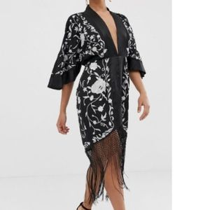 ASOS petite silk embroidered kimono tassel dress